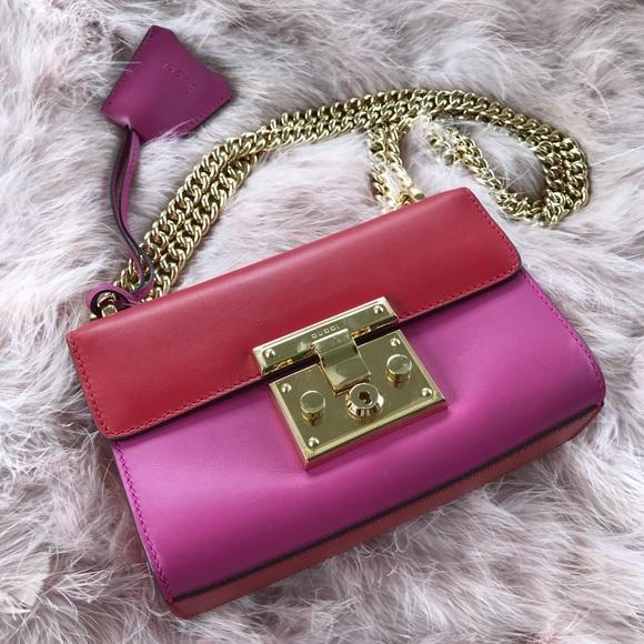 f9aca450ea085 Gucci padlock supreme red and pink two tone bag